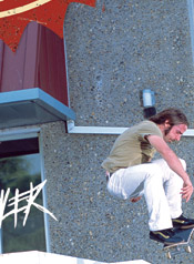 Ethan Fowler doin a one eighty - skate mag spread